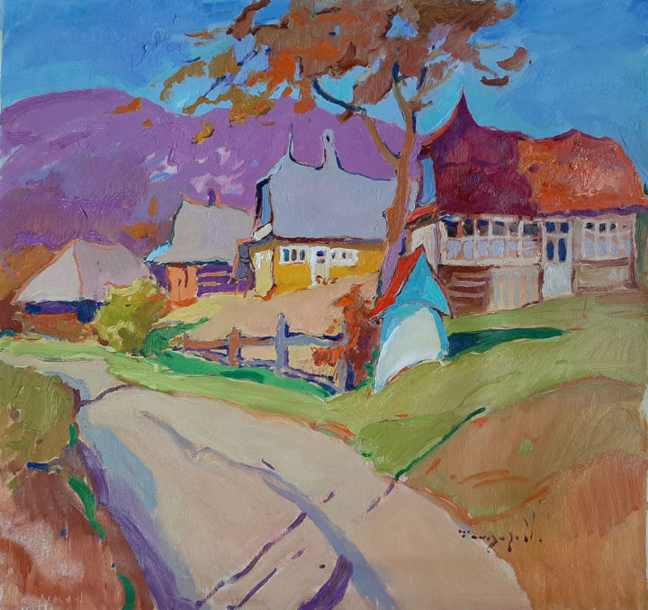 Autumn in the village of Rechka _ oil on canvas - Painting,  27.6x29.5x0.8 in, ©2019 by Alexander Shandor -                                                                                                                                                                                                                                                                                                                                                                                                                                                                                                  Impressionism, impressionism-603, Seasons, Mountainscape, Tree, Landscape, autumn, trees, houses, village