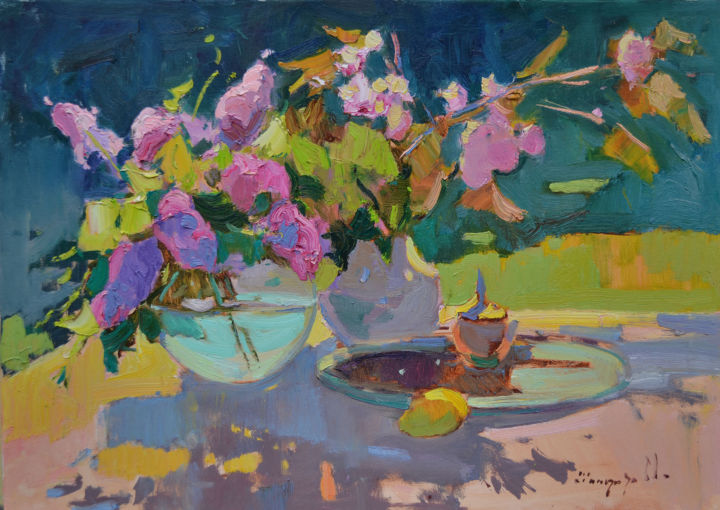 A game of shadows - Painting,  21.7x31.5x0.8 in, ©2020 by Alexander Shandor -                                                                                                                                                                                                                                                                                                                                                                                                                                                                                                                                              Impressionism, impressionism-603, Seasons, Still life, artwork_cat.Colors, Flower, Lilac abstract, lilac bouquet, Lilac bouquet artwork, professional, shandor art