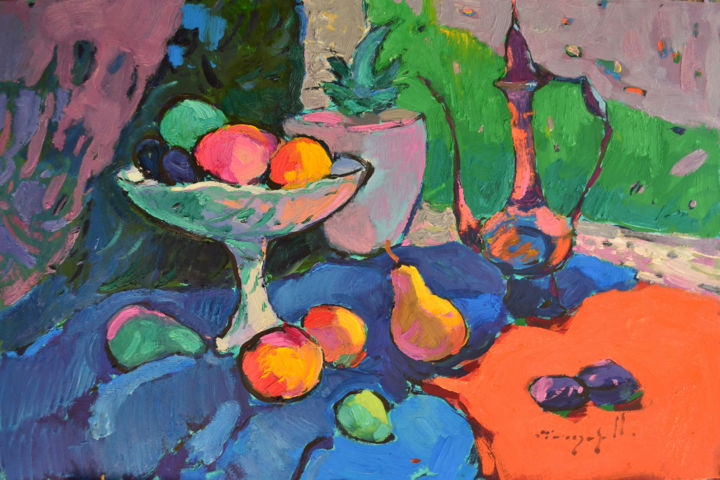 Eastern motive  _ oil on cardboard - Painting,  20.1x28.4x0.8 in, ©2020 by Alexander Shandor -                                                                                                                                                                                                                                                                                                                                                                                                                                                                                                                                                                                                                                                                                                                                                                          Impressionism, impressionism-603, Seasons, Still life, Nature, artwork_cat.Colors, Flower, plums, fruit bowl, indian vase, teapot, Gauguin, Cezan, pear, cactus, agave
