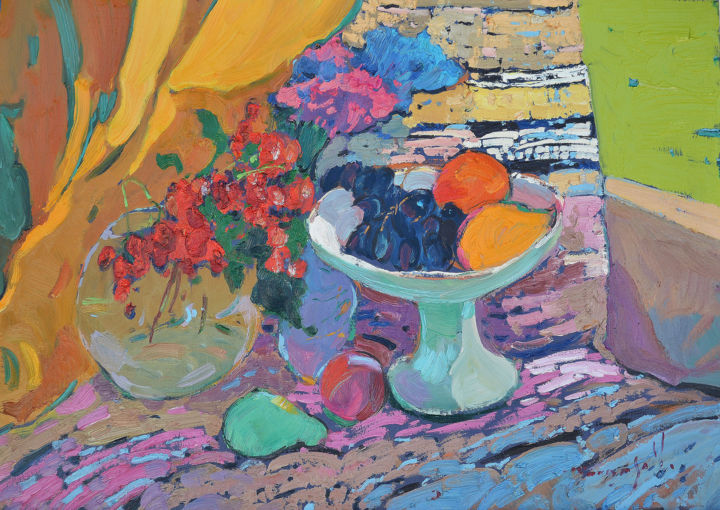 Fruit bowl _ oil on cardboard - Painting,  20.5x28.4x0.8 in, ©2020 by Alexander Shandor -                                                                                                                                                                                                                                                                                                                                                                                                                                                                                                  Impressionism, impressionism-603, Seasons, Still life, artwork_cat.Colors, Flower, фрукты, лимон, виноград, калина