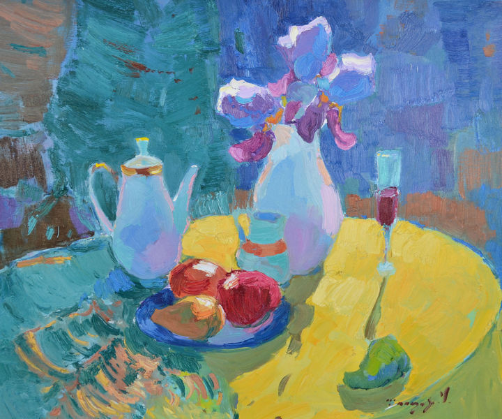 Irises in contour - Painting,  23.6x27.6x0.8 in, ©2020 by Alexander Shandor -                                                                                                                                                                                                                                                                                                                                                                                                                                                                                                                                                                                                                                      Impressionism, impressionism-603, Seasons, Still life, artwork_cat.Colors, Flower, Irises in contour, teapot, wine, yellow, Interior Design, the sun, pear