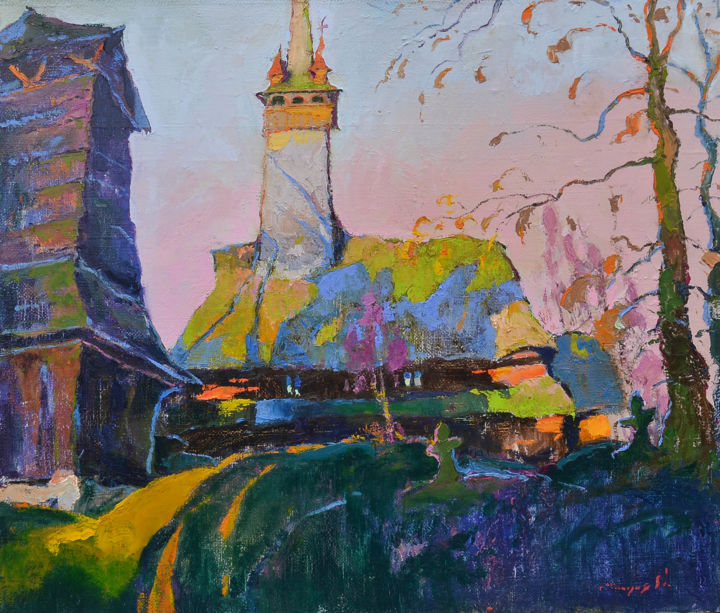 Вечерний звон / Evening Bells - Painting,  2x37.4x33.5 in, ©2015 by Alexander Shandor -                                                                                                                                                                                                                                                                                                                                                                                                          Abstract, abstract-570, Architecture, Landscape, Rural life, шандор, купить картину маслом, церковь
