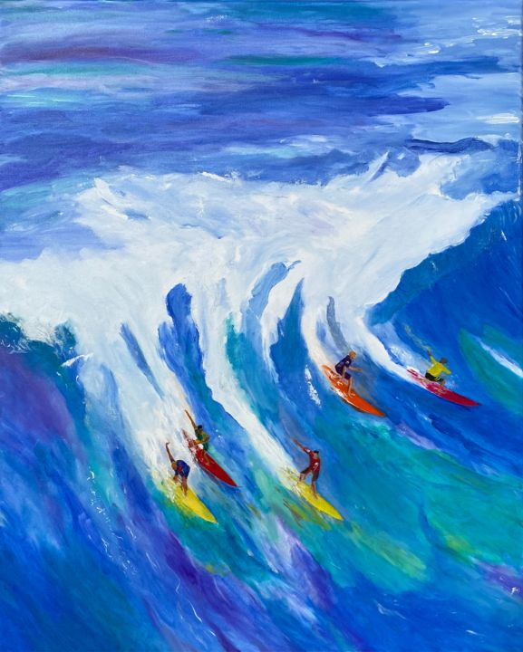 """Painting titled """"surfing in the sea…"""" by Shanshan Liu, Original Art, Oil"""
