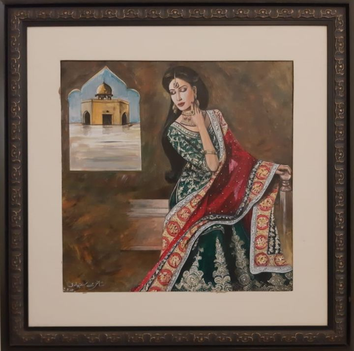 Ancient Woman Detailed Dress by Shanzay Subzwari - Painting,  23x23x2 in ©2017 by Shanzay Subzwari -                                                                                                                    Abstract Art, Abstract Expressionism, Paper, Abstract Art, Asia, Classical mythology, Colors, History