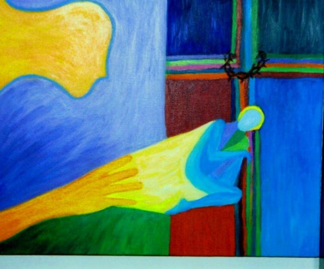 """Painting titled """"Hand of God"""" by Janice Nelson, Original Art, Oil"""