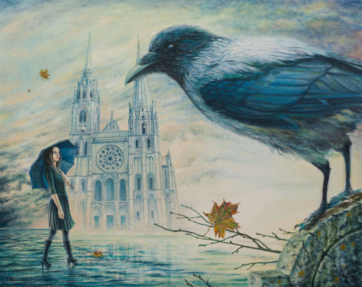 Mood - Painting,  21.7x27.6x0.4 in, ©2011 by Sergey Shenderovsky -                                                                                                                                                                                                                                                                                                                                                                                                                                                                                                                                          Surrealism, surrealism-627, Landscape, Large, Figure, Crow, Girl, Umbrella, Background, Chartres Cathedral, Autumn.