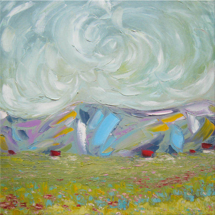 """Painting titled """"Rainbow hill"""" by Andria Shengelia, Original Art, Oil"""