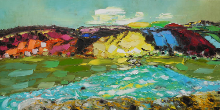 """Painting titled """"Valley of Aragvi Ri…"""" by Andria Shengelia, Original Art, Oil"""
