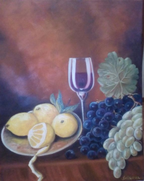 dessert - Painting,  50x40x1.5 cm ©2017 by Tatiana Shirova -                                                            Realism, Canvas, Food & Drink, натюрморт, бокал вина, виноград, лимоны, десерт, dessert, Grapes, glass of wine