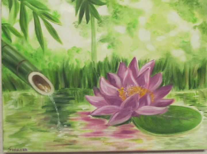 Lotus and bamboo - Painting,  30x40x1.5 cm ©2017 by Tatiana Shirova -                                                                                    Abstract Expressionism, Figurative Art, Canvas, Flower, Spirituality, лотос, бамбук, пруд, сиреневый, вода, Lotus and bamboo, эзотерика, esoterics