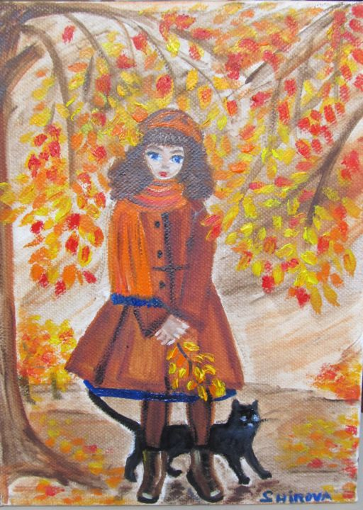Autumn walk with a cat - ©  девочка, осень, кот, прогулка, autumn yellow leaves cat girl Online Artworks