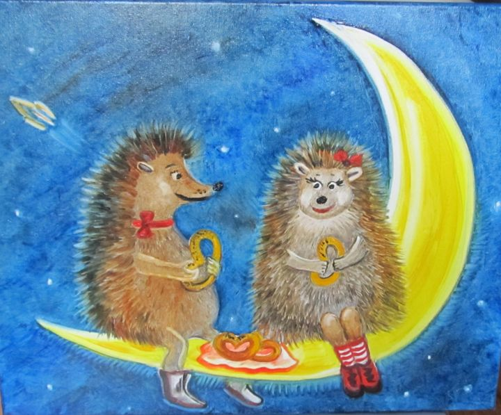 Romantic picnic - Painting,  40x50x1.5 cm ©2017 by Tatiana Shirova -                                                                        Naive Art, Canvas, Children, Animals, ежики, луна, пикник, ночь, Romantic picnic, night, moon, urchins