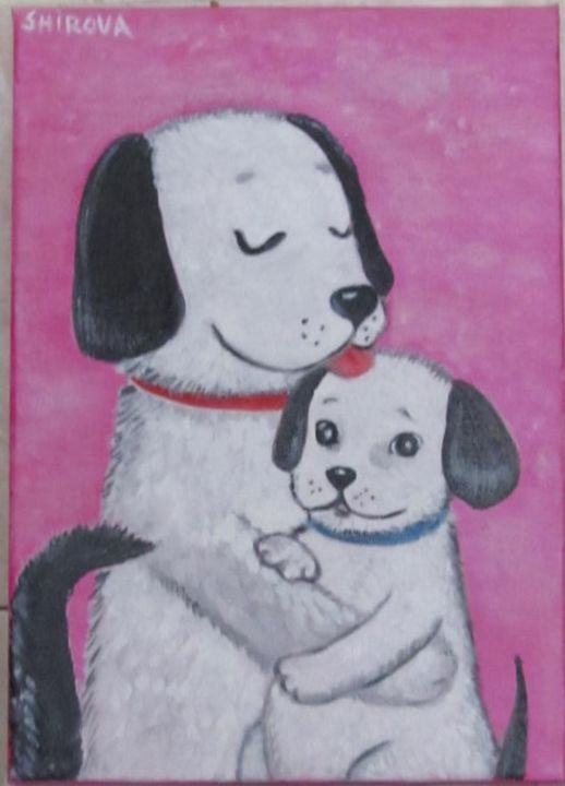 Puppy with mom - Painting,  30x20x1.5 cm ©2018 by Tatiana Shirova -                                                            Naive Art, Canvas, Animals, собаки, обнимашки, мама с шенком, Dogs, Puppy with mom