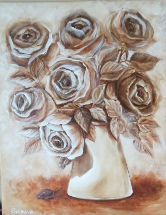 """Painting titled """"Roses Coffee"""" by Tatiana Shirova, Original Art, Oil Mounted on Stretcher frame"""