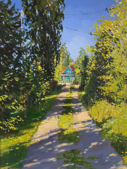 """Painting titled """"'The Russian villag…"""" by Елизавета Пугачева, Original Art, Oil Mounted on Stretcher frame"""