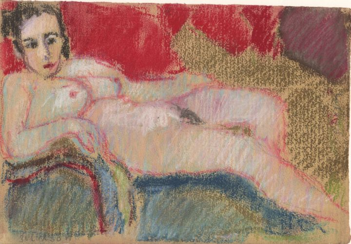 P34 : Femme Nue Assise - Drawing,  6.3x9.5 in, ©2007 by Amos Zelikson -                                                                                                                                                                                                                                                                                                                                                                                                                                                                                                                                                                                          Figurative, figurative-594, Women, Nude, Nu addossé, Nu assis, Bourgeois, Classique Moderne, Amos Zelikson, Reclining Nude, Nude, Modern Classic