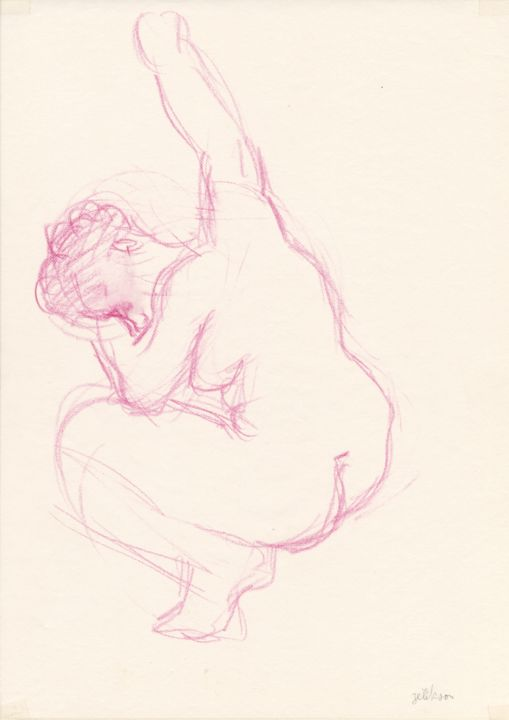 C08 Femme Nue Adosée - Drawing,  11.4x8.3 in, ©1993 by Amos Zelikson -                                                                                                                                                                                                                                                                                                                                                                                                                                                                                                                                              Figurative, figurative-594, Women, Nude, Nu assis, Violet, Classique Moderne, Amos Zelikson, Nude, Crouching, Sitting