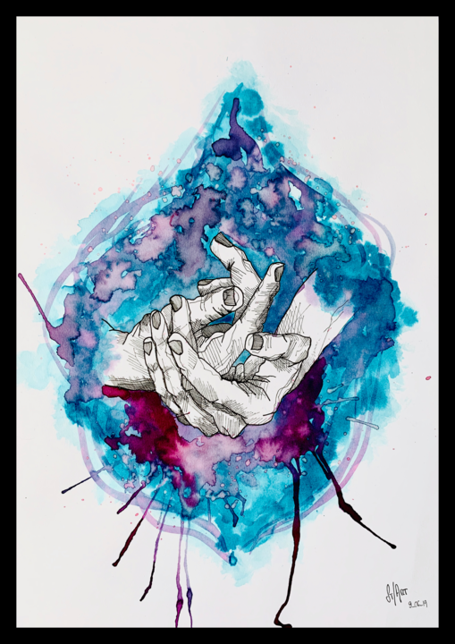 In my Hands - © 2019 art, abstrait, mains, couleur, dessin, noir, bleu, violet Online Artworks