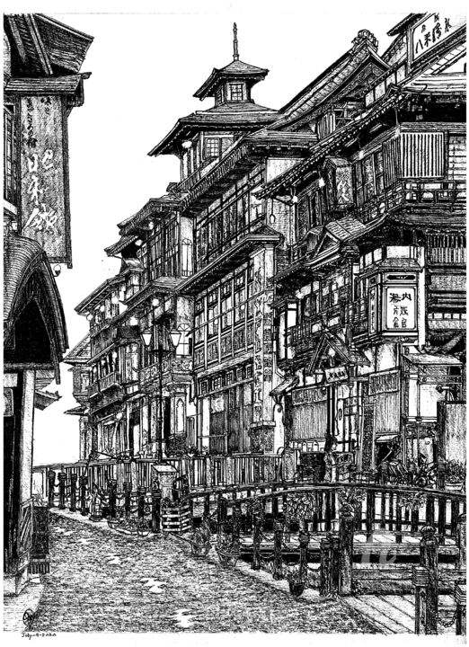 Ginzan Onsen, Yamagata, Japan - Drawing,  16.5x11.7x0.4 in, ©2020 by Shorove -                                                                                                                                                                                                                                                                                                                                                                                                                                                                                                                                                                                                                                                                                                                                                                                                                                                                                                                                                                                                                                                                                                                                                                                                                                                                              Street Art, street-art-624, Architecture, Asia, Black and White, Places, World Culture, Black and white, Japan, Onsen, Micronpen, ink, pen and ink, crosshatching, handdrawn, bkack ink, drawing, sketching, art, artwork, architecture, architectural, structures, ink drawings, ink sketching, ink on paper, A3