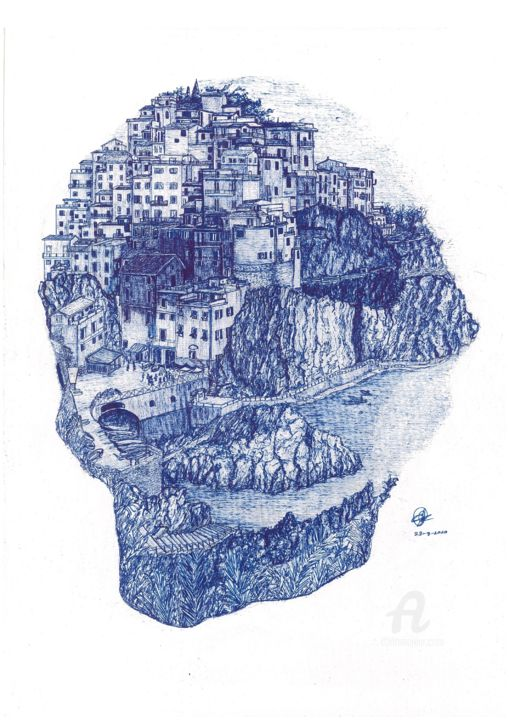 Cinque Terre, Italy - Drawing,  16.5x11.7x0.4 in, ©2020 by Shorove -                                                                                                                                                                                                                                                                                                                                                                                                                                                                                                                                                                                                                                                                                                                                                                                                                                                                                                                                                                                                                                                                                                                                                                  Abstract Art, Aerial, Architecture, Black and White, Cityscape, ink, Drawing, art, pen and ink, pen, ink on paper, A3, ink sketching, ink drawings, structures, architectural, artwork, sketching, bkack ink, handdrawn, Micronpen, Black and white, World Culture, italy, skull