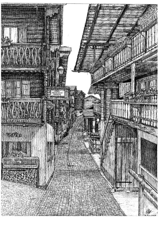 Wooden houses from The Alpine village Grimentz Switzerland - Drawing,  16.5x11.7x0.4 in, ©2020 by Shorove -                                                                                                                                                                                                                                                                                                                                                                                                                                                                                                                                                                                                                                                                                                                                                                                                                                                                                                                                                                                                                                                                                                                                                                                                                                                                              Illustration, illustration-600, Black and White, Architecture, Cityscape, Home, World Culture, ink, black and white, penandinkdrawing, inkwork, inkdrawing, micronpenart, inkartist, pentraditional, drawing, handdrawn, drawingillustration, artwork, blackandwhiteart, pendrawing, sketch, sketchdrawing, pendrawingart, prints, penandink, arttraditional