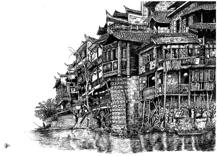 Old houses in Fenghuang county in Hunan, China. (2) - Drawing,  11.7x16.5 in, ©2020 by Shorove -                                                                                                                                                                                                                                                                                                                                                                                                                                                                                                                                                                                                                                                                                                                                                                                                                                                                                                                                                                                                                                                                                                                                                                                                                                                                              Illustration, illustration-600, Architecture, Black and White, History, Landscape, Rural life, Drawing, Ink, Gel pen, Architecture, Art, Black and White, ink pen, architectural structures, china, sketch, drawing, art, artwork, ink drawing, ink art, illustration, traditional, hand drawn, culture, ink drawings