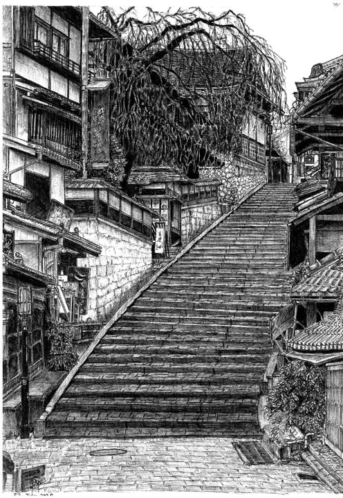 Higashiyama district, Kyoto, Japan - Drawing,  16.5x11.7x0.4 in, ©2020 by Shorove -                                                                                                                                                                                                                                                                                                                                                                                                                                                                                                                                                                                                                                                                                                                                                                                                                                                                                                                                                                                                                                                                                                                                                                                                                                                                              Illustration, illustration-600, Architecture, Black and White, Cities, Culture, Places, Ball point pen, Ball pen art, sketching, sketch, drawing, art, ball point pen art, black and white, prints, japan, stairways, pen, pen sketch, pen drawing, pen art, traditional, illustration, traditional art, traditional drawing, kyoto