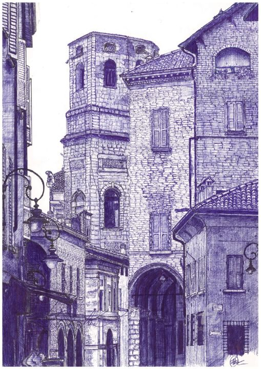 Bologna, Emilia-Romagna, Italy - Drawing,  11.7x8.3 in, ©2020 by Shorove -                                                                                                                                                                                                                                                                                                                                                                                                                                                                                                                                                                                                                                                                                                                                                                                                                                                                                                                                                                                                                                                                                                                                                                                                                                                                              Illustration, illustration-600, Architecture, Cities, Cityscape, Colors, World Culture, illustration, art, drawing, sketching, sketch, blue, ball point pen, ball pen, ball pen art, ball point pen art, ball point pen drawing, traditional, cross hatching, hatching, italy, prints, places, traditional drawing, traditional art, pen art