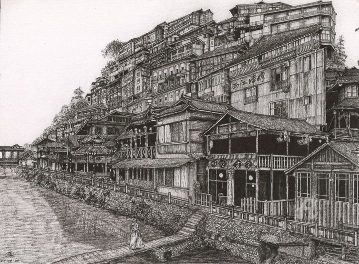 The Xijiang Qianhu Miao Village - Drawing,  11.7x16.5x0.4 in, ©2020 by Shorove -                                                                                                                                                                                                                                                                                                                                                                                                                                                                                                                                                                                                                                                                                                                                                                                                                                                                                                                                                                                                                                                                                                                                                                                      Illustration, illustration-600, Architecture, Black and White, Places, micron pen, architecture sketch, ink on paper, hand sketch, crosshatching, illustration, pen and ink, black pen, sketching, traditional houses, china, chinese house, old houses, hand drawn, art work, village, guizhou, province, art, drawing