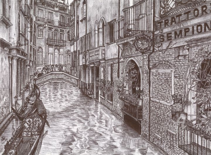 Venice Italy - Drawing,  11.7x16.5 in, ©2020 by Shorove -                                                                                                                                                                                                                                                                                                                                                                                                                                                                                                                                                                                                                                                                                                                                                                                                                                                                                                                                                                                                                                                                                                                                                                                                                                                                              Illustration, illustration-600, Architecture, Black and White, Cities, Landscape, Places, black and white, pen art, pen and ink, Italy, wall decor, drawing, art, sketching, hand drawn, illustration, traditional, ballpoint pen drawing, architectural drawings, architecture, pen drawing, city, Venice, artwork, realism, buildings