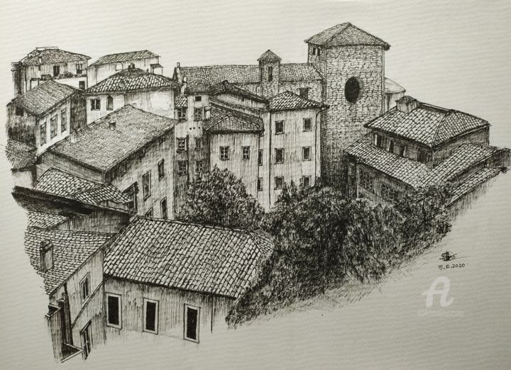 Tuscany, Italy - Drawing,  11.7x16.5 in, ©2020 by Shorove -                                                                                                                                                                                                                                                                                                                                                                                                                                                                                                                                                                                                                                                                                                                                                                                                                                                                                                                                                                                                                                                                                                                                                                                                                                  Illustration, illustration-600, Architecture, Black and White, Cityscape, Places, Italy, illustration, art, artwork, art gallery, hand drawn, sketch, sketching, drawing, buildings, architecture, village, ink, black and white, contemporary, design, urban, places, houses, Hnad made