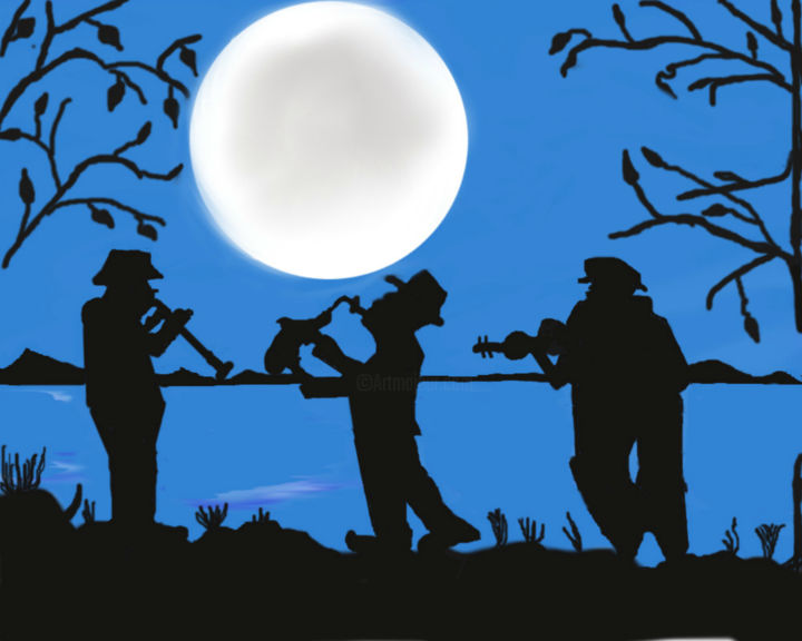 musical-band - Digital Arts, ©2015 by shreya sham -                                                                                                                                                                                                                                                                                                                                                                                                                                                          Abstract, abstract-570, Other, Landscape, Music, people, band, love, moon