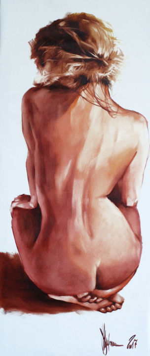 Morning guest. - Pittura,  87x37x4 cm ©2017 da Shulman -                                                            Pittura contemporanea, Tela, Erotico, igor shulman, oil painting, contemporary, figurative, erotic, nude, naked girl, beauty, harmony, positive, monochrome