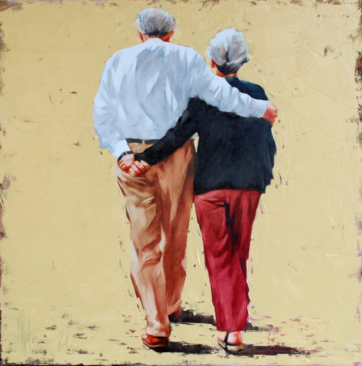Correct old age - Painting,  27.6x27.6x1.6 in, ©2018 by Shulman -                                                                                                                                                                                                                                                                                                                                                                                                                                                                                                                          People, igor shulman, oil painting, palette knife, contemporary, figurative, old couple, romance, sentimental, harmony, positive