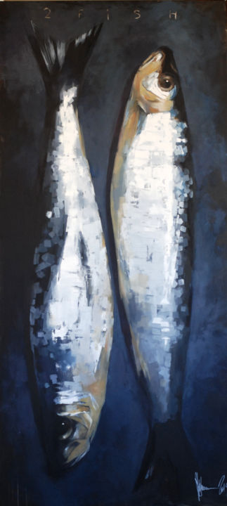 2 fish. - Painting,  220x100x4 cm ©2019 by Shulman -                                                                                    Conceptual Art, Contemporary painting, Pop Art, Canvas, Fish, igor shulman, oil painting, contemporary, pop art, conceptual, fish, harmony, positive, textures, palette knife