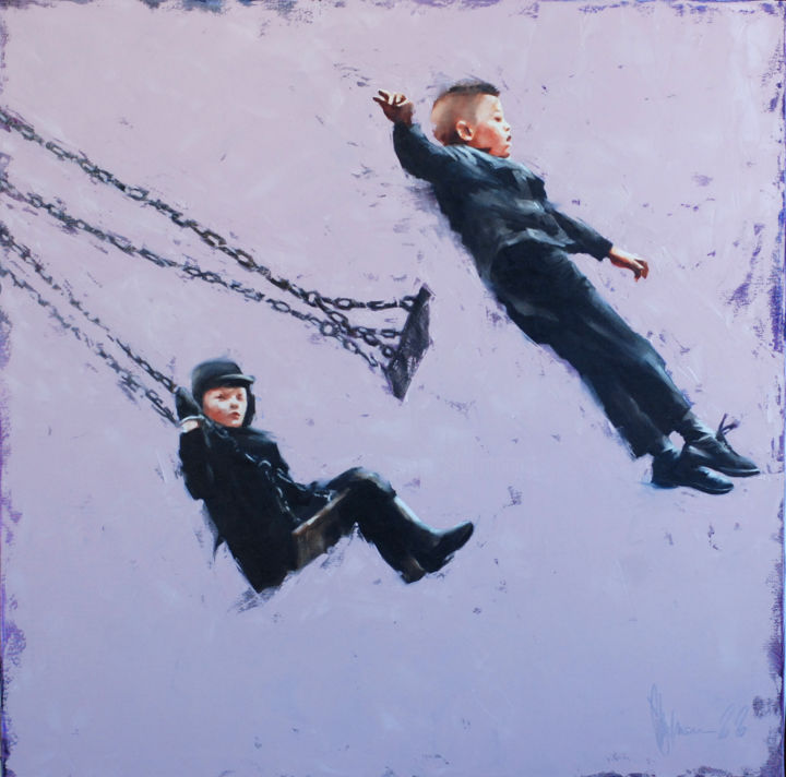 The swing of my childhood. Remaster. - Painting,  39.4x39.4x2 in, ©2020 by Shulman -