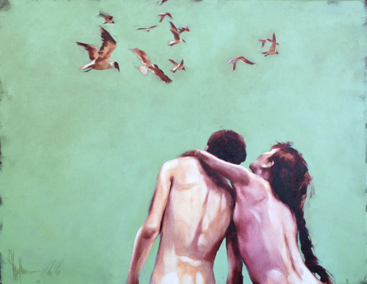 Not our summer. - Pintura,  27,6x35,4x2 in, ©2020 por Shulman -                                                                                                                                                                                                                                                                                                                                                                                                                                                                                                                                              Figurative, figurative-594, Personas, igor shulman, oil painting, figurative, contemporary, happy, naked couple, romance, joy