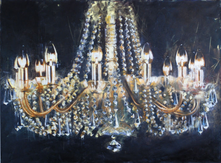 art distressed print wall soiree decadent jeweled chandeliers chandelier canvas