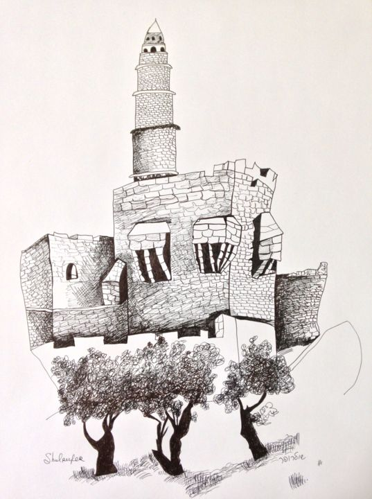 Cityscape - Drawing,  18.9x13.4 in, ©2019 by Janna Shulrufer שולרופר -                                                                                                                                                                                                                                                                                                                                                                                                          Expressionism, expressionism-591, Cities, Cityscape, line drawing, city, Jerusalem, The Holy City