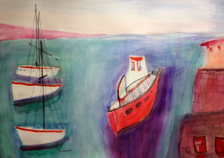 boats - Painting,  16.5x23.6 in, ©2018 by Janna Shulrufer שולרופר -                                                                                                                                                                                                                                                                                                                                                                                                                                                                                                  Expressionism, expressionism-591, Beach, Seascape, Ships, Water, watercolors, seascape, boats, ships