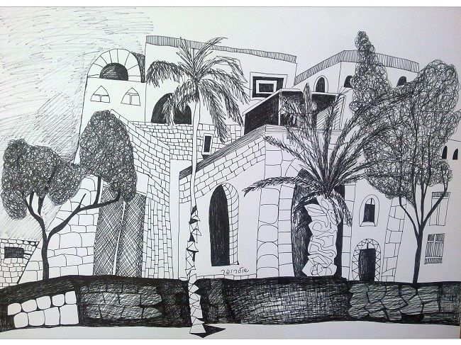 Yaffo - Drawing,  46x33 cm ©2013 by Janna Shulrufer שולרופר -                            Black and White, drawing, Yaffo, urban  landscape