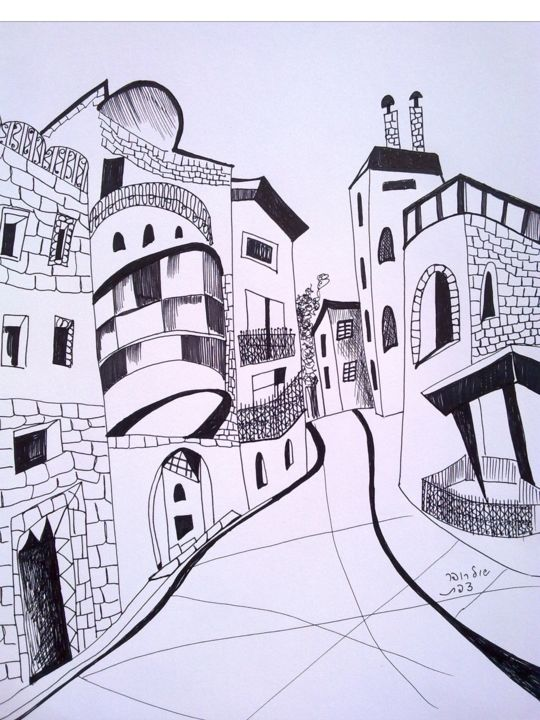 street in Safed - Drawing,  34.5x24.5 cm ©2017 by Janna Shulrufer שולרופר -                                                                        Expressionism, Paper, Cities, Places, pen, paper, linen drawinr