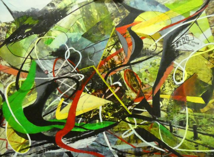 """Painting titled """"Virus Storm"""" by Sy Chan, Original Art, Collages"""