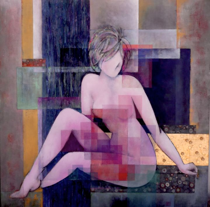 Thousand and one night - Painting,  35.4x35.4x0.8 in, ©2020 by Sibilla Bjarnason -                                                                                                                                                                                                                      Figurative, figurative-594, Body, Nude