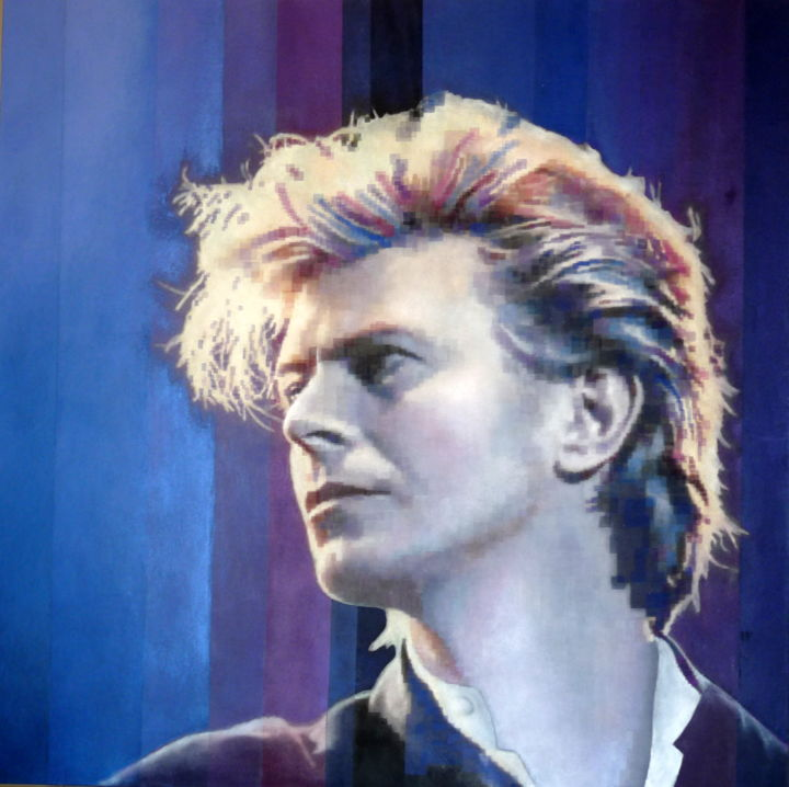 David - Painting,  39.4x39.4x1.6 in, ©2020 by Sibilla Bjarnason -                                                                                                                                                                                                                                                                  Figurative, figurative-594, Celebrity, Cinema, Music