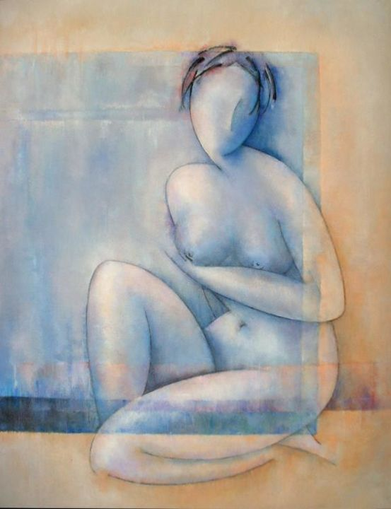 Blue model - Painting,  116x89 cm ©2004 by Sibilla Bjarnason -