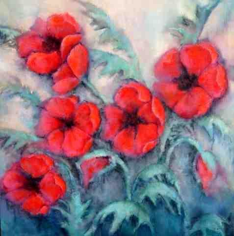 Poppies - Painting,  61x61 cm ©2003 by Sibilla Bjarnason -