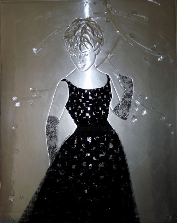 La petite robe noire - Mixed Media,  90x71x2.5 cm ©2015 by Sibilla Bjarnason -                        Fashion