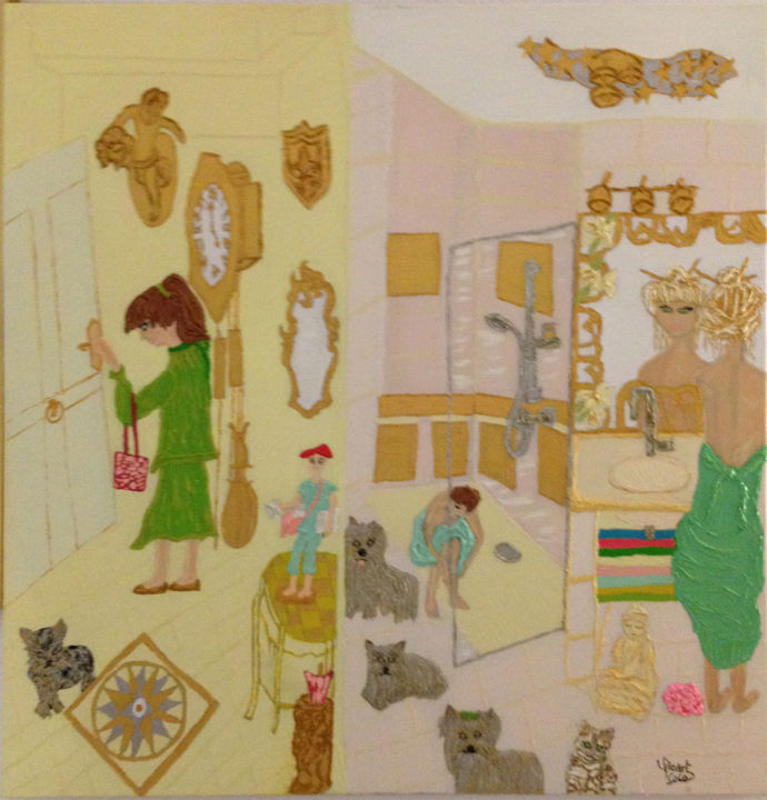 un-brin-dintimite.jpg - Painting,  80x80x2 cm ©2015 by Coco Sicart -                                                                                                        Figurative Art, Contemporary painting, Cotton, Canvas, Cats, Dogs, Interiors
