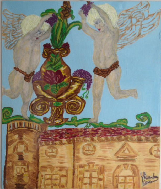 mes-anges-gardiens.jpg - Painting,  46x38 cm ©2014 by Coco Sicart -                                                                    Figurative Art, Contemporary painting, Canvas, Angels